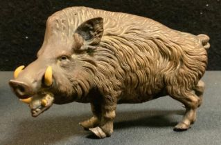 A late Victorian cast Animalier Bronze model of a wild boar, standing mouth open at the ready,