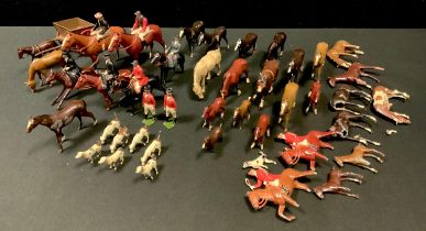 Britains lead fox hunting part set including huntsmen on horse and foot; three lady riders, dogs (