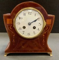 An Edwardian inlaid mahogany mantel clock, French movement, enamelled face, Roman numerals, brass