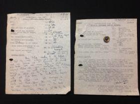 WW2 RAF Rare Intelligence Form F, Pilots Personal Combat report lot comprising of the original