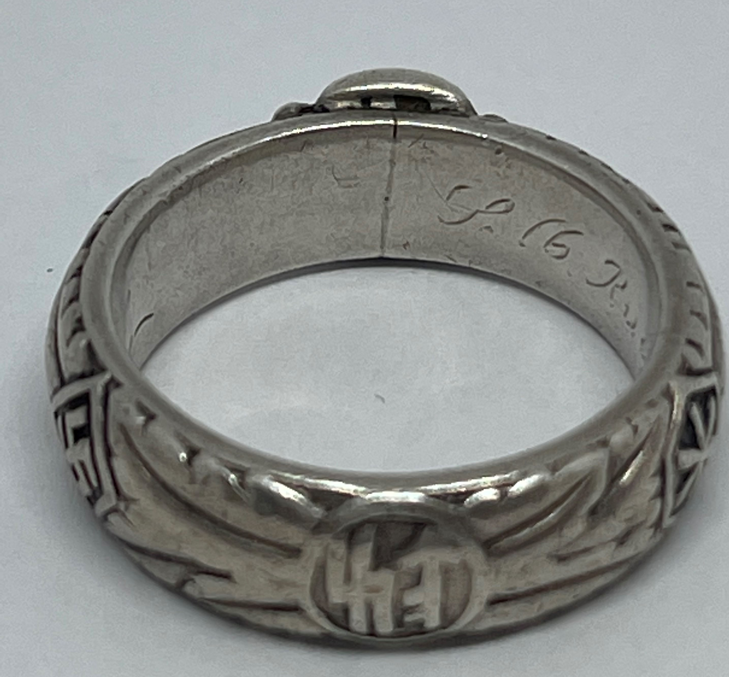 """WW2 Third Reich SS Ehrenring Totenkopf Honour Ring. Inscription engraved to the band """"Slb Rudolph - Image 5 of 5"""