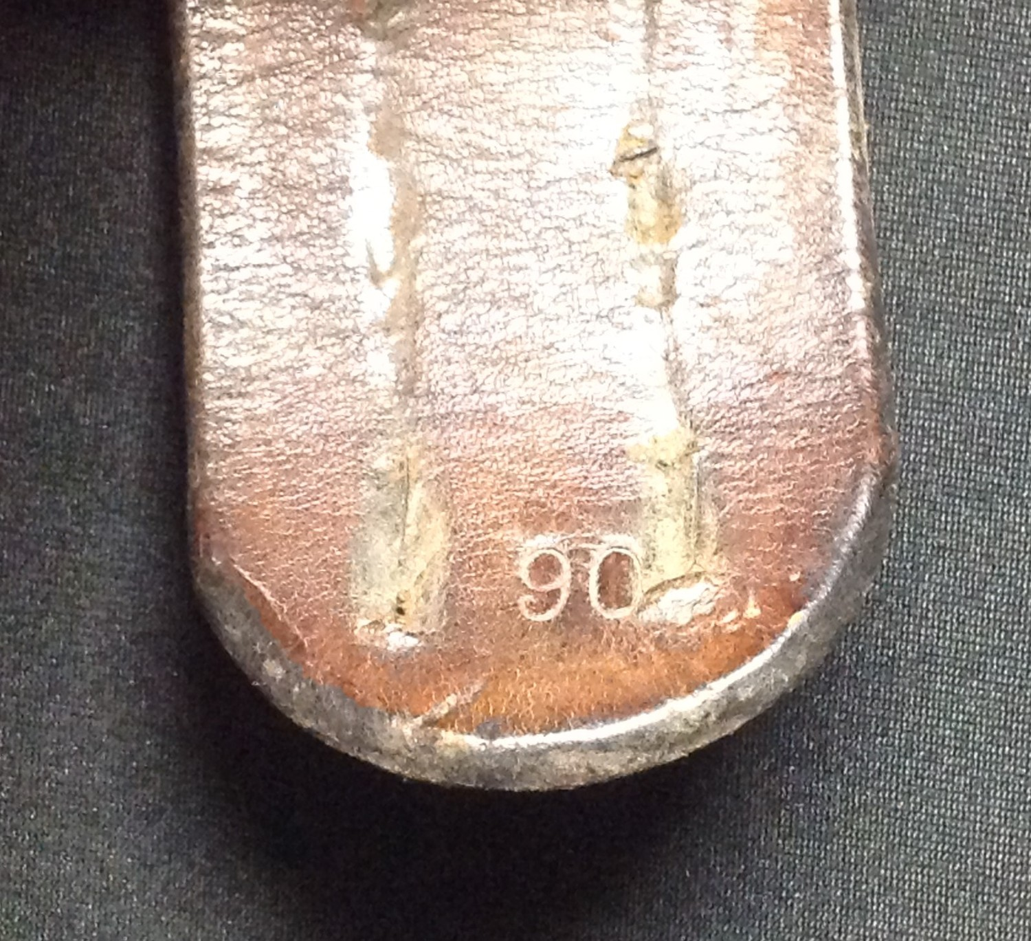 """WW2 Third Reich Heer Belt and Buckle. Buckle is made of alloy and is maker marked """"F.R.O"""". Belt - Image 4 of 5"""