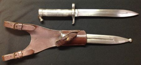 Swedish M1886 Pattern bayonet with conical locking stud. Doubled edged blade 206mm in length. Serial