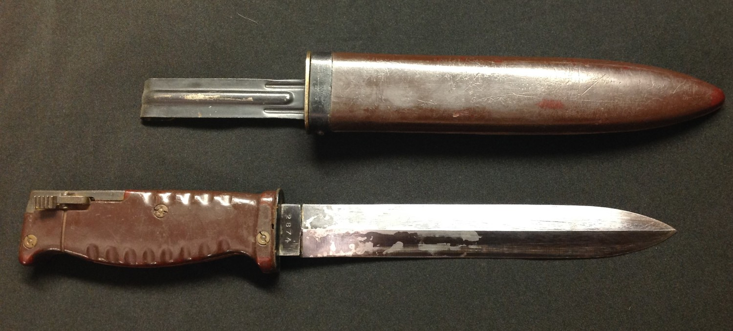 """Sudanese AR10 Bayonet with double edged 200mm long blade, maker marked """"Interarmco"""" reg pat"""