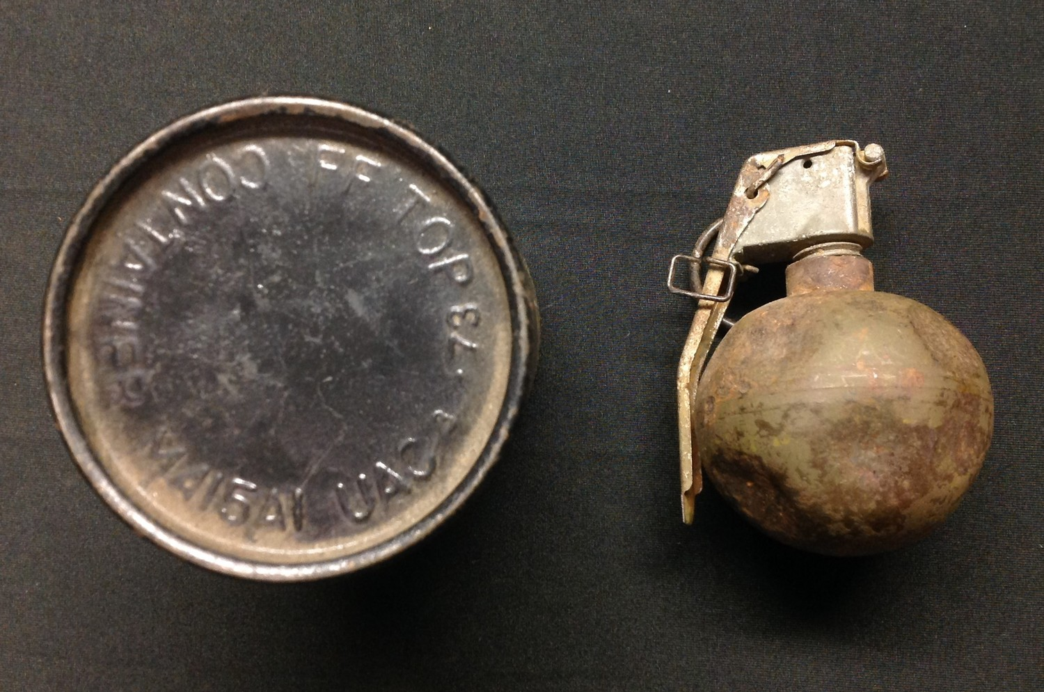 """Veitnam War era US M-67 """"Baseball"""" Hand Grenade INERT & FFE. Fited with fuze M213 dated 4/63 and - Image 2 of 6"""