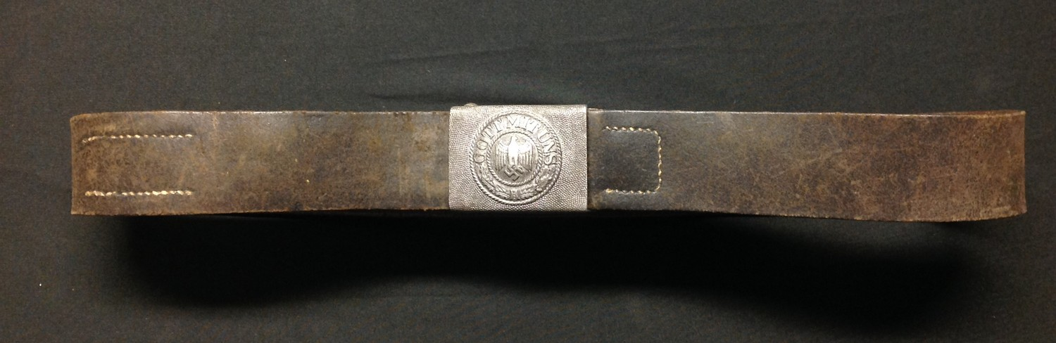 """WW2 Third Reich Heer Belt and Buckle. Buckle is made of alloy and is maker marked """"F.R.O"""". Belt - Image 5 of 5"""
