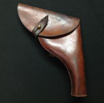WW1 British Army Brown Leather Officers Revolver Holster. No markings. Closure strap with stud