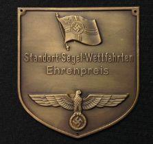 """WW2 Third Reich Kriegsmarine, Plakette, Bronze sailing competition prize winners plaque """"Standort-"""