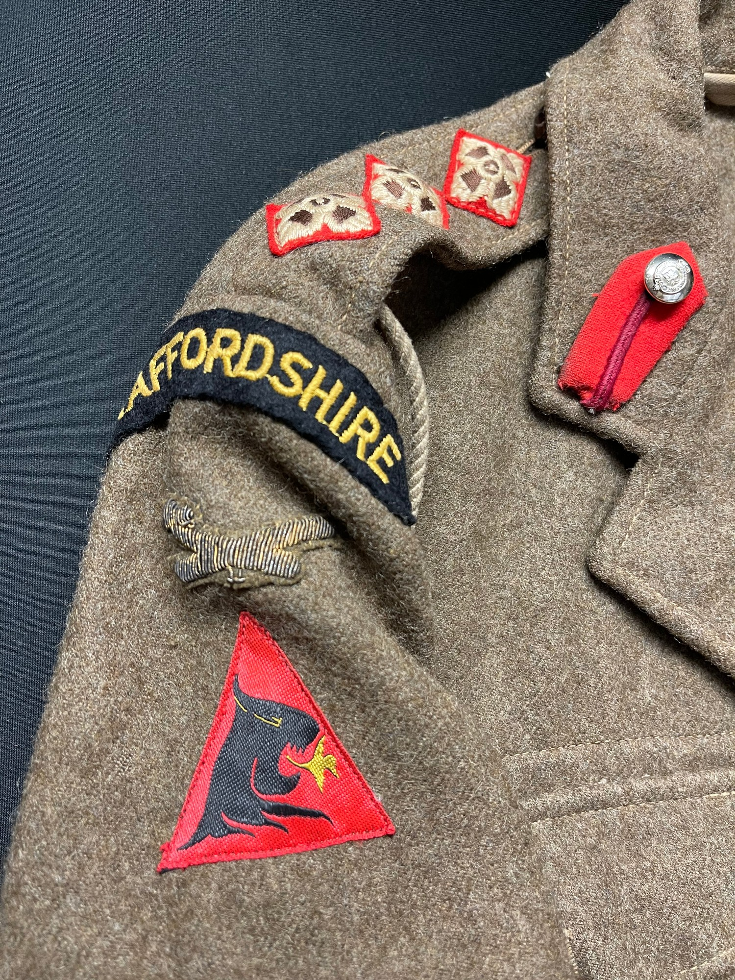 British Army Staffordshire Regiment 1949 Pattern Captains Battledress Blouse. Complete with all - Image 2 of 8