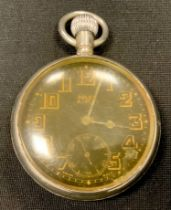 WW2 'Military' style private purchase Rolex A10030 open faced pocket watch, black enamel dial gold