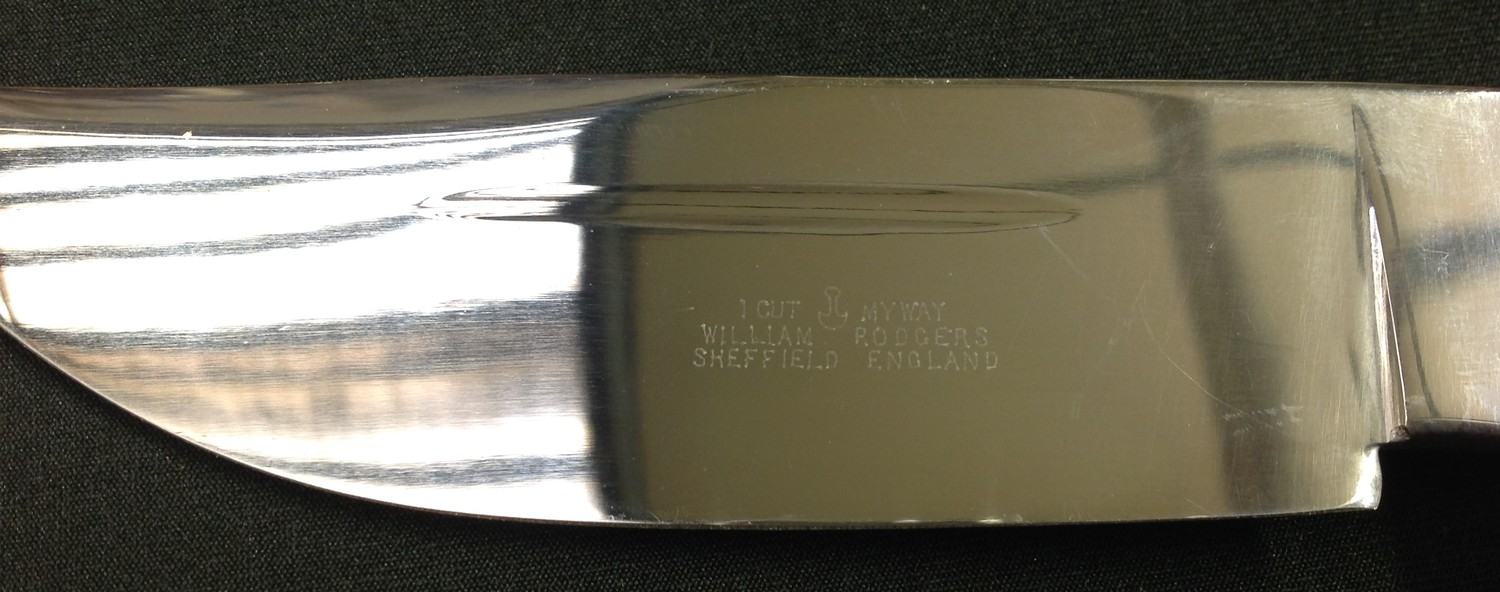 """Survival/Hunting Knife with 120mm long Bowie style blade with etched """"I Cut My Way, William Rodgers, - Image 6 of 9"""