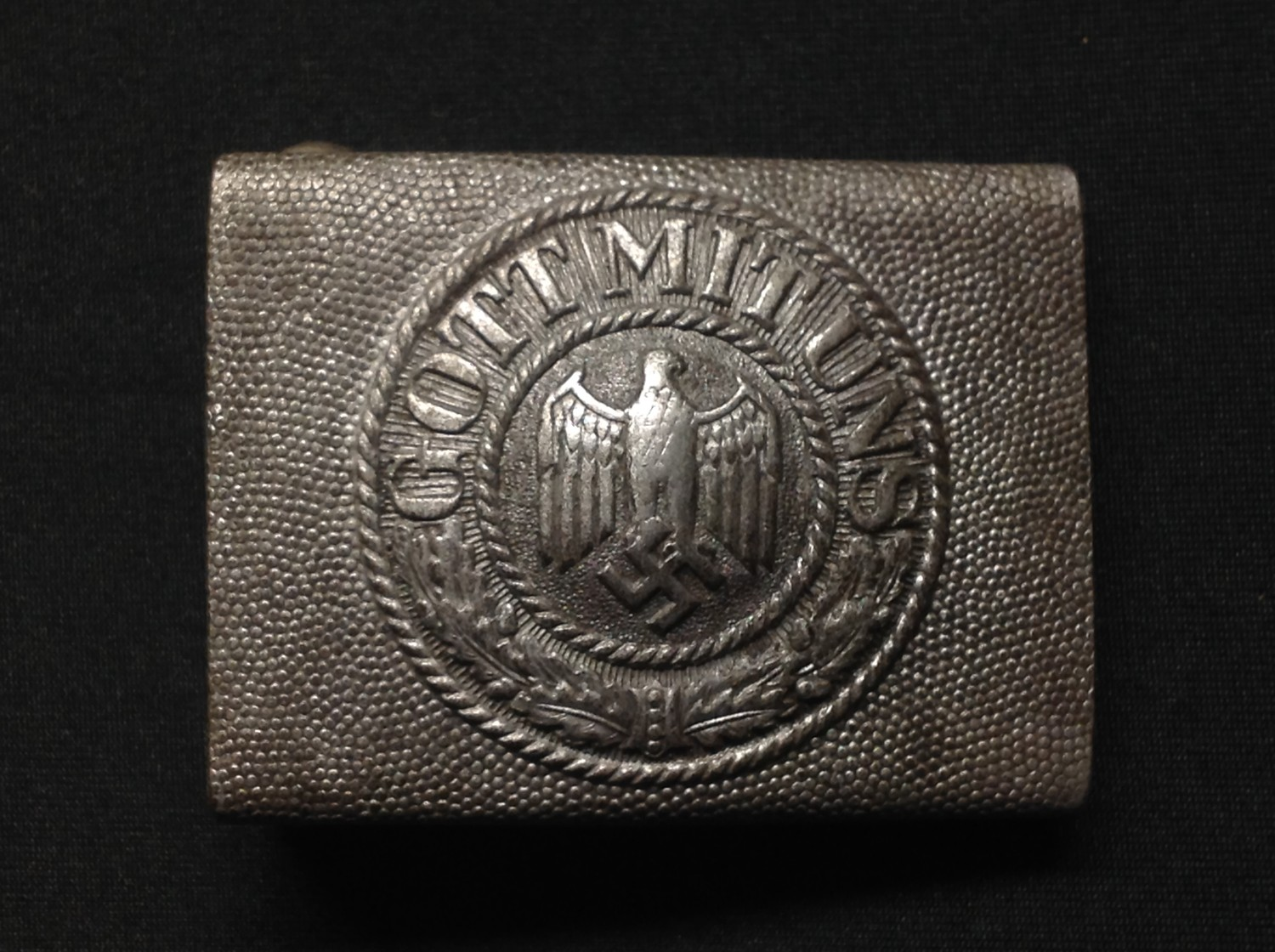 """WW2 Third Reich Heer Belt and Buckle. Buckle is made of alloy and is maker marked """"F.R.O"""". Belt"""