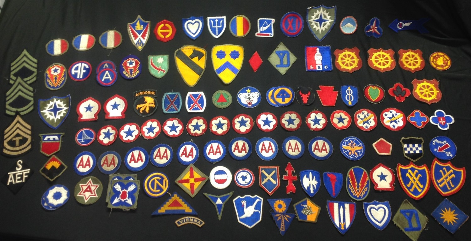 US Army Shoulder Sleeve Insignia Patches: a collection of over 100 patches plus NCO's stripes, USAAF