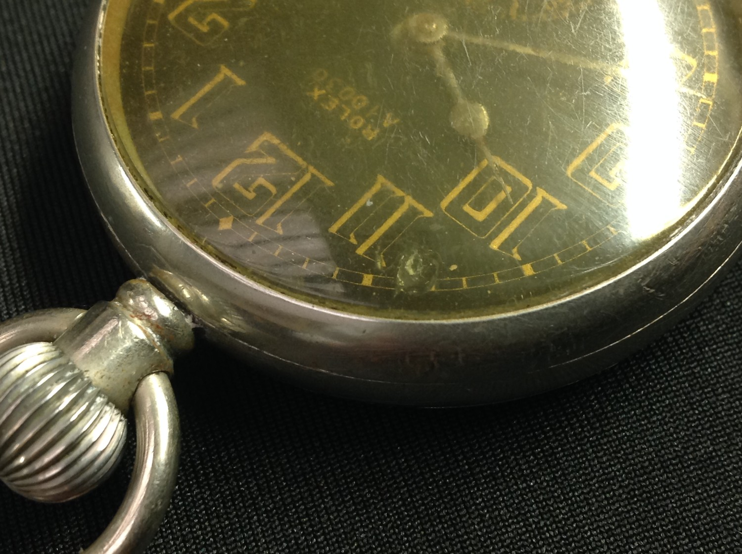 WW2 'Military' style private purchase Rolex A10030 open faced pocket watch, black enamel dial gold - Image 7 of 10