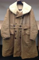 WW2 Canadian Army sheepskin-lined canvas overcoat, maker marked & dated 1940, size 40, complete with