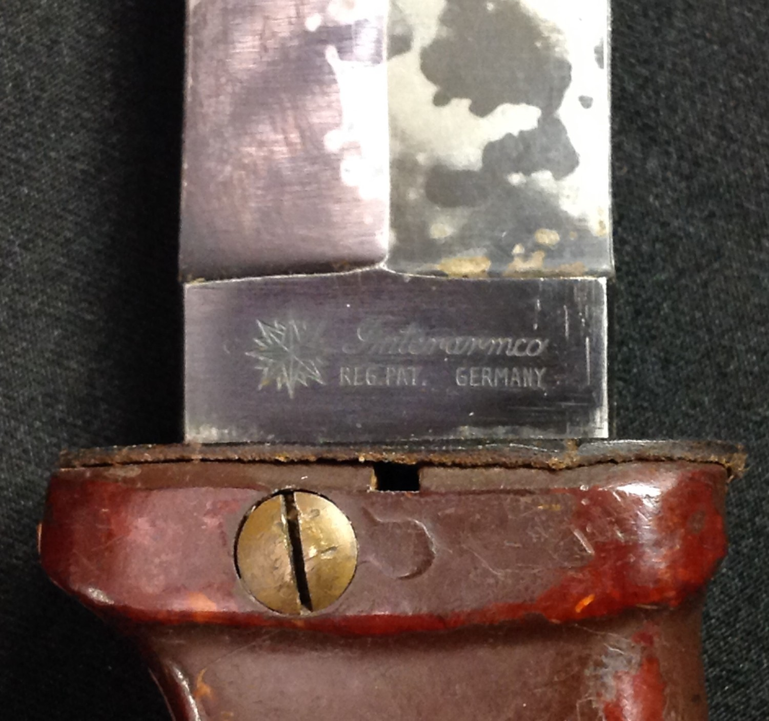 """Sudanese AR10 Bayonet with double edged 200mm long blade, maker marked """"Interarmco"""" reg pat - Image 3 of 9"""