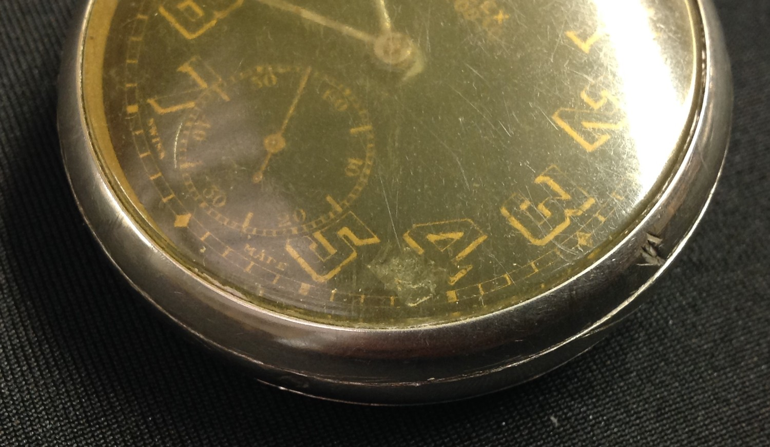 WW2 'Military' style private purchase Rolex A10030 open faced pocket watch, black enamel dial gold - Image 6 of 10
