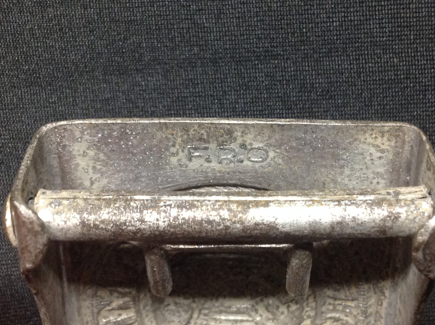 """WW2 Third Reich Heer Belt and Buckle. Buckle is made of alloy and is maker marked """"F.R.O"""". Belt - Image 3 of 5"""