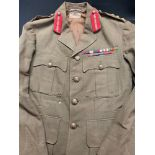 WW2 British Brigadiers Service Dress Tunic. Complete with original buttons, medals ribbons, gorget