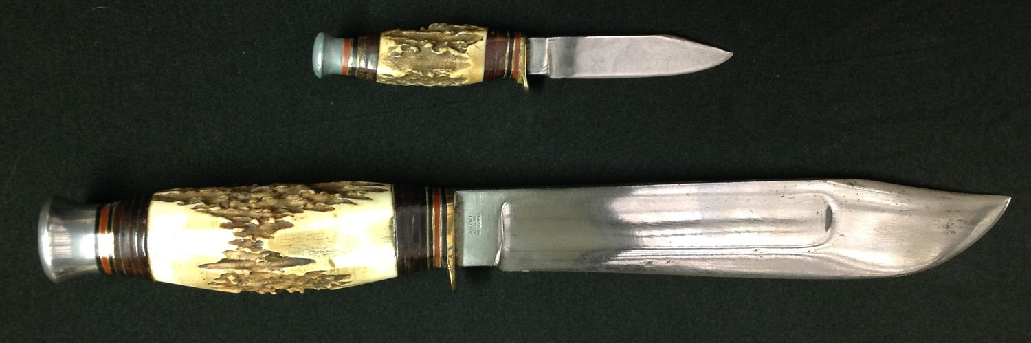 """Hunting Knife with Bowie style blade with fuller 199mm in length maker marked """"William Rodgers I Cut - Image 2 of 5"""
