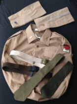 Mixed militaria to include: WW2 US Army Overseas cap in Chino, size 7 1/8th with Infantry blue