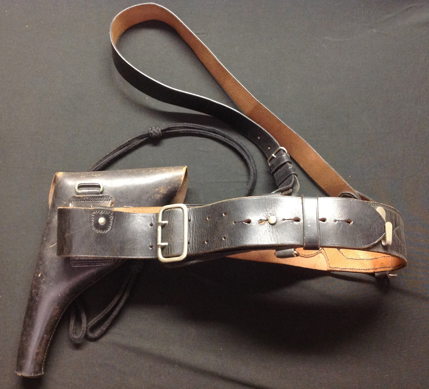 WW2 British Army Light Infantry Officers Sam Brown belt and matching revolver holster in black