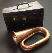 Victorian British Army Bugle. No makers marks or mouthpeice. Approx 25cm in length. Horn 10cm in