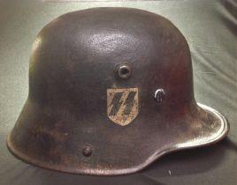 WW1 Imperial German Army M1916 Stahlhelm Steel Helmet. This helmet has been repainted black and