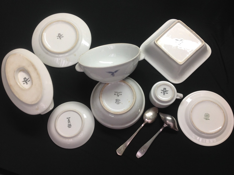 WW2 Third Reich Luftwaffe, Kreigsmarine and DAF dinnerware, eight items, plus two items of