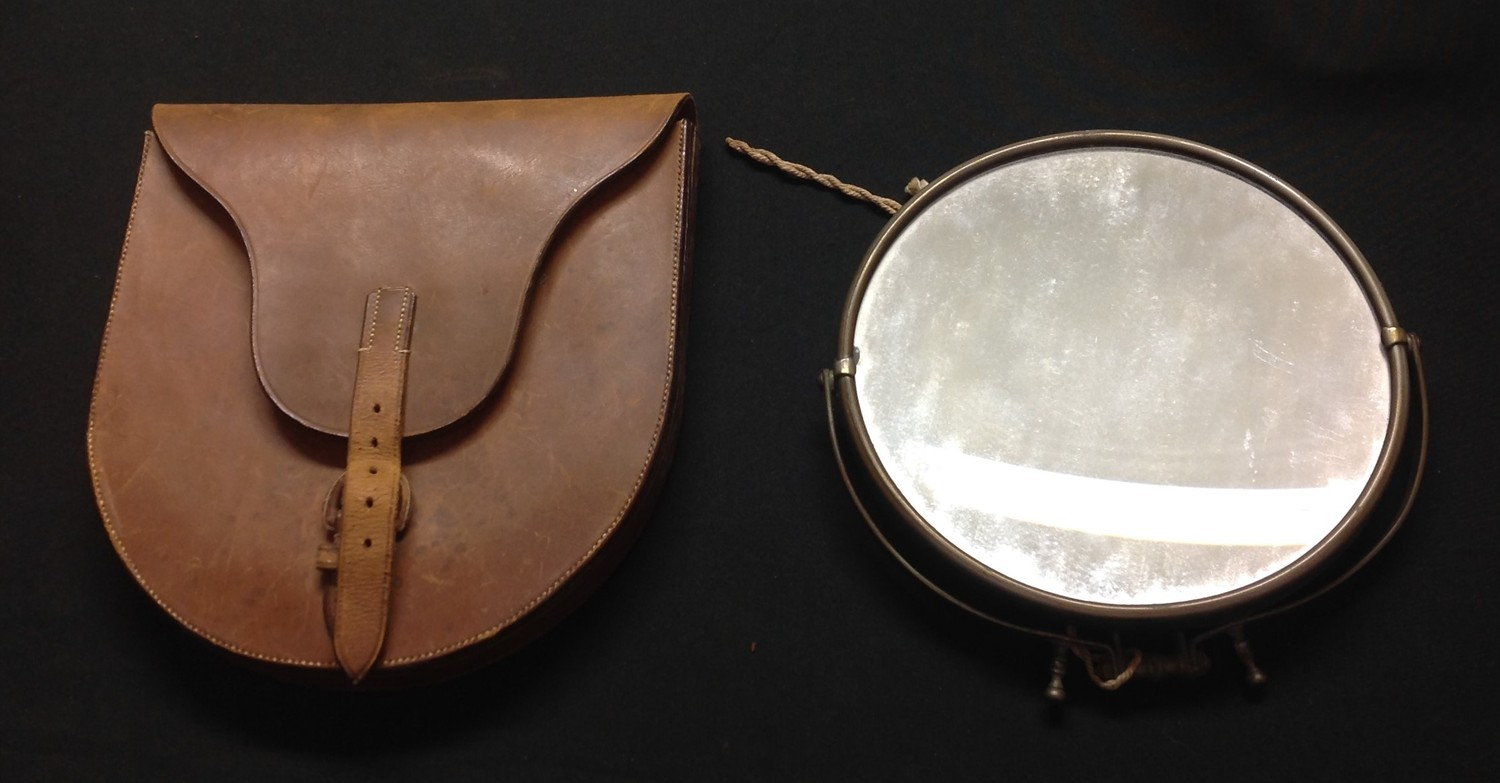 WW1 British Officers Private Purchase Campaign Shaving Mirror in leather case. Named in ink to the