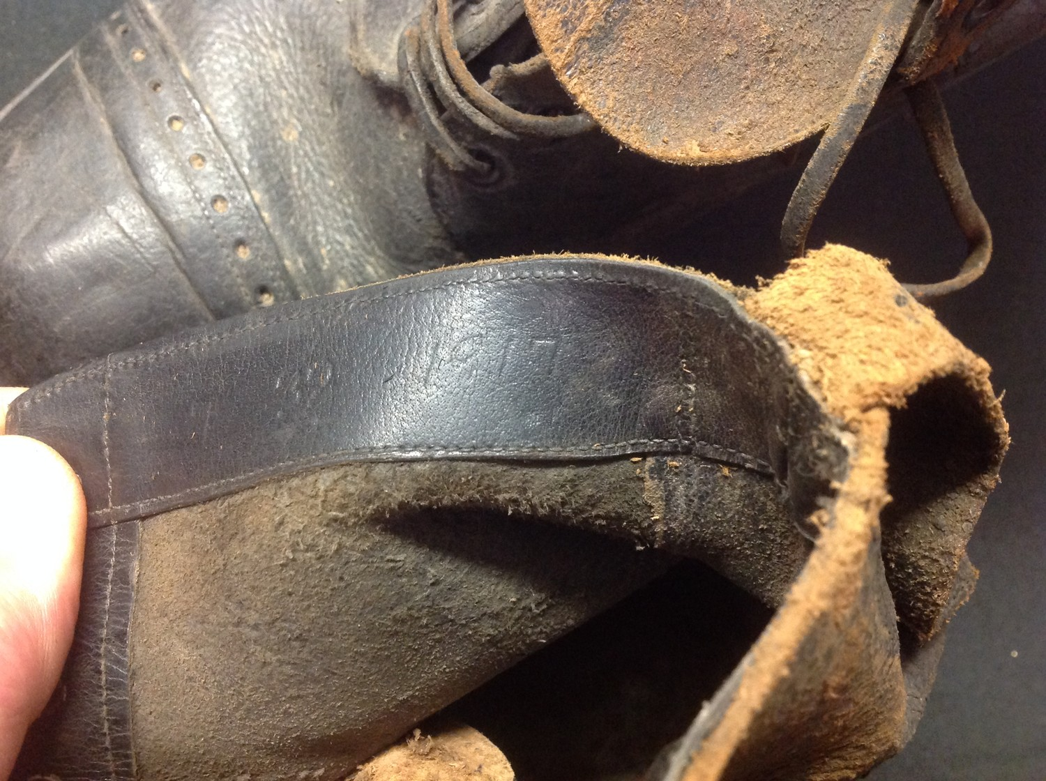 """A pair of black leather lace up ankle boots. Marked to the inside on both boots """"7 32 1917"""". Soles - Image 7 of 7"""