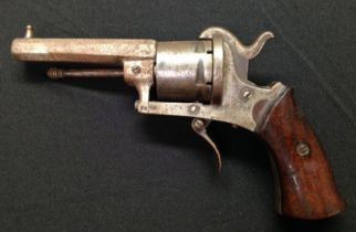 """Belgian made Pinfire Revolver with 73mm long octagonal barrel. Bore approx 7mm. Cylinder marked """"The"""