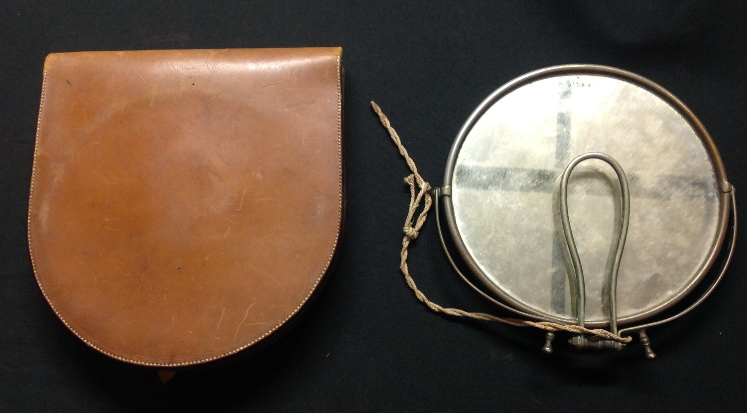WW1 British Officers Private Purchase Campaign Shaving Mirror in leather case. Named in ink to the - Image 2 of 3