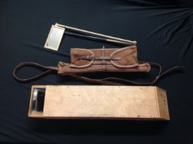 WW1 British Officers Private Purchase Trench Periscope Mirror. Contained within a canvas and leather