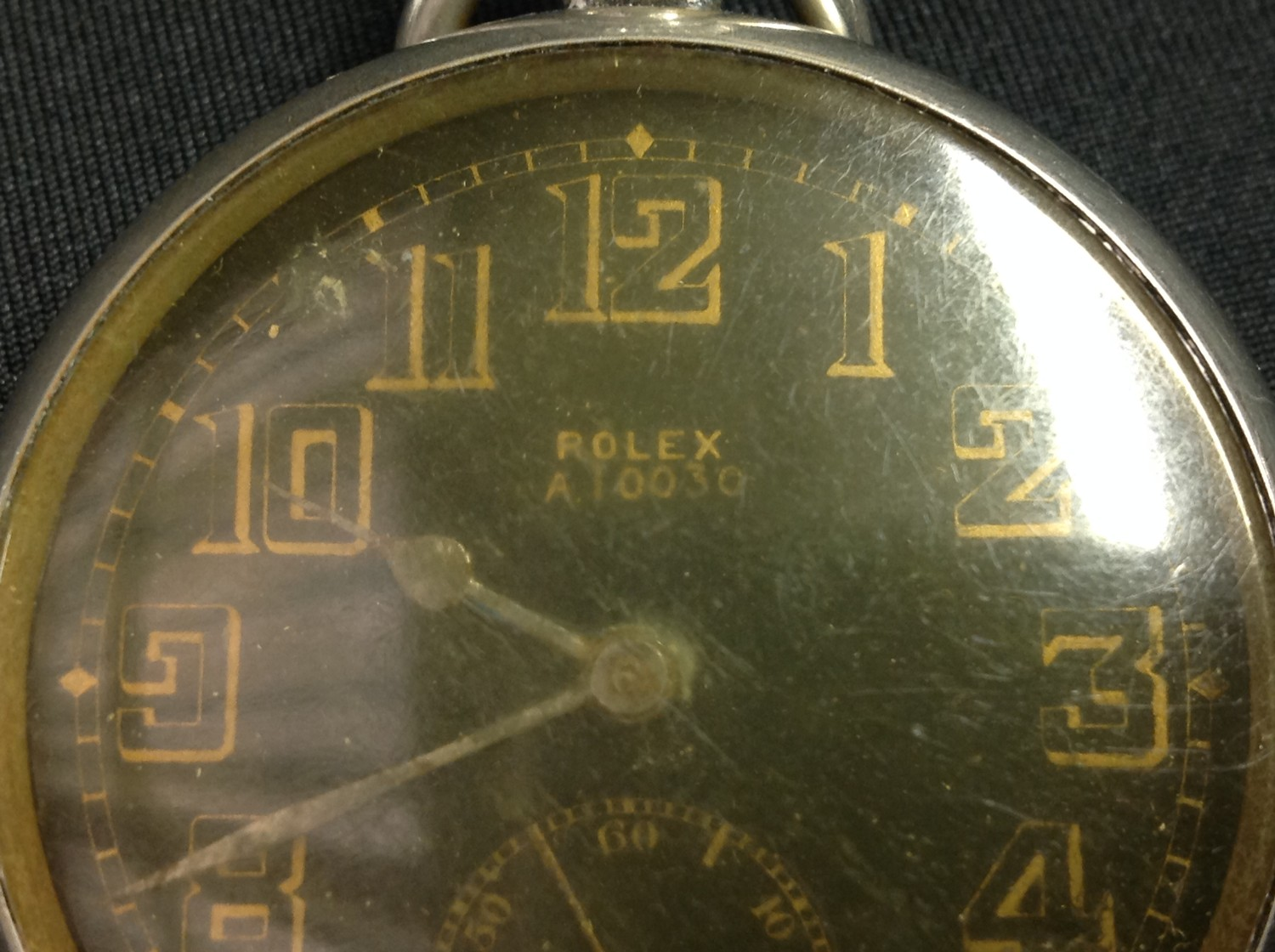 WW2 'Military' style private purchase Rolex A10030 open faced pocket watch, black enamel dial gold - Image 9 of 10