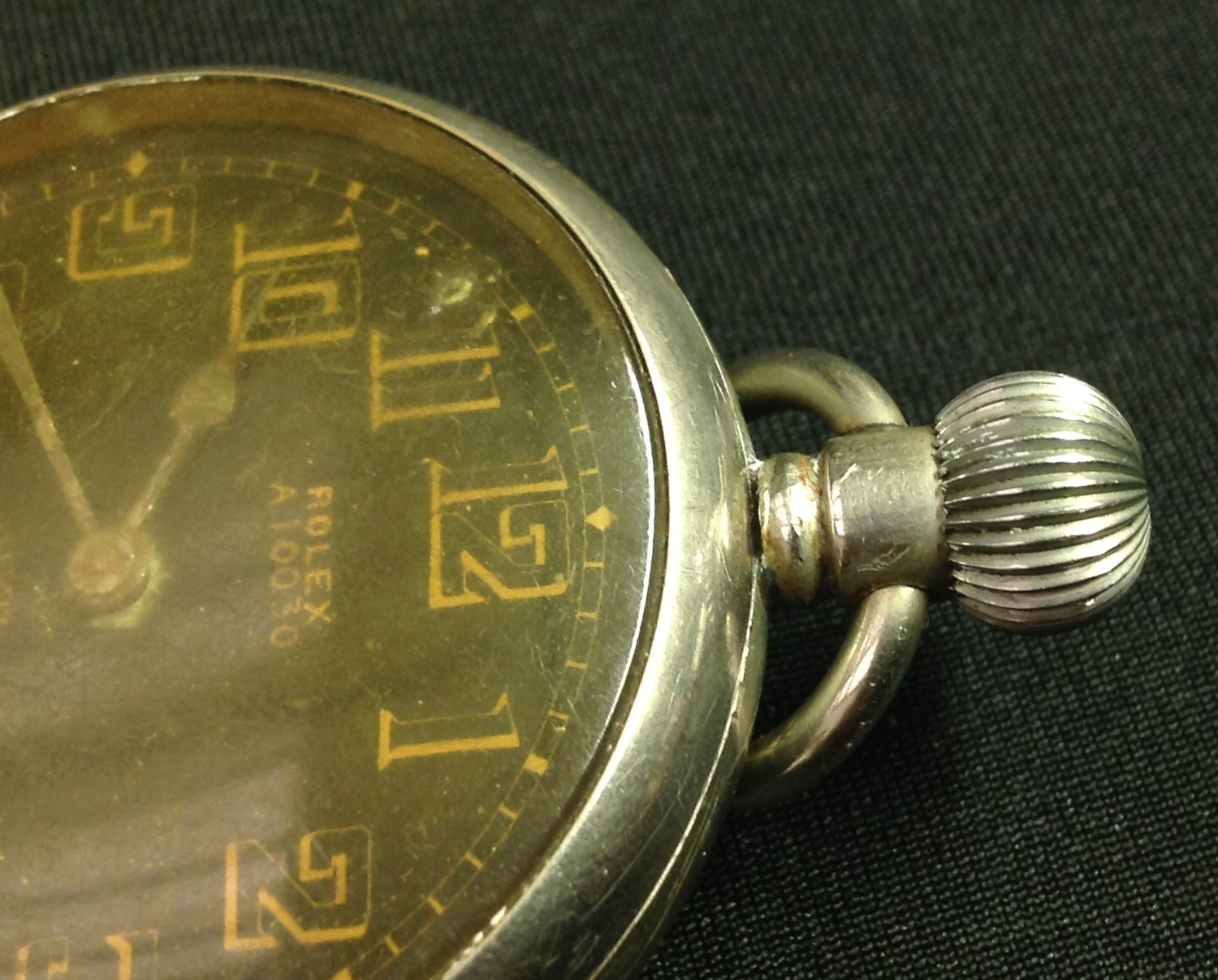 WW2 'Military' style private purchase Rolex A10030 open faced pocket watch, black enamel dial gold - Image 8 of 10