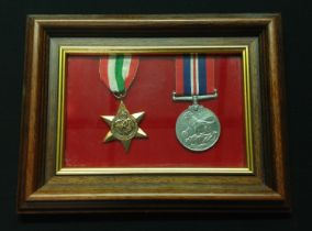 WW2 British Italy Star and War Medal mounted in a frame. Complete with ribbons.