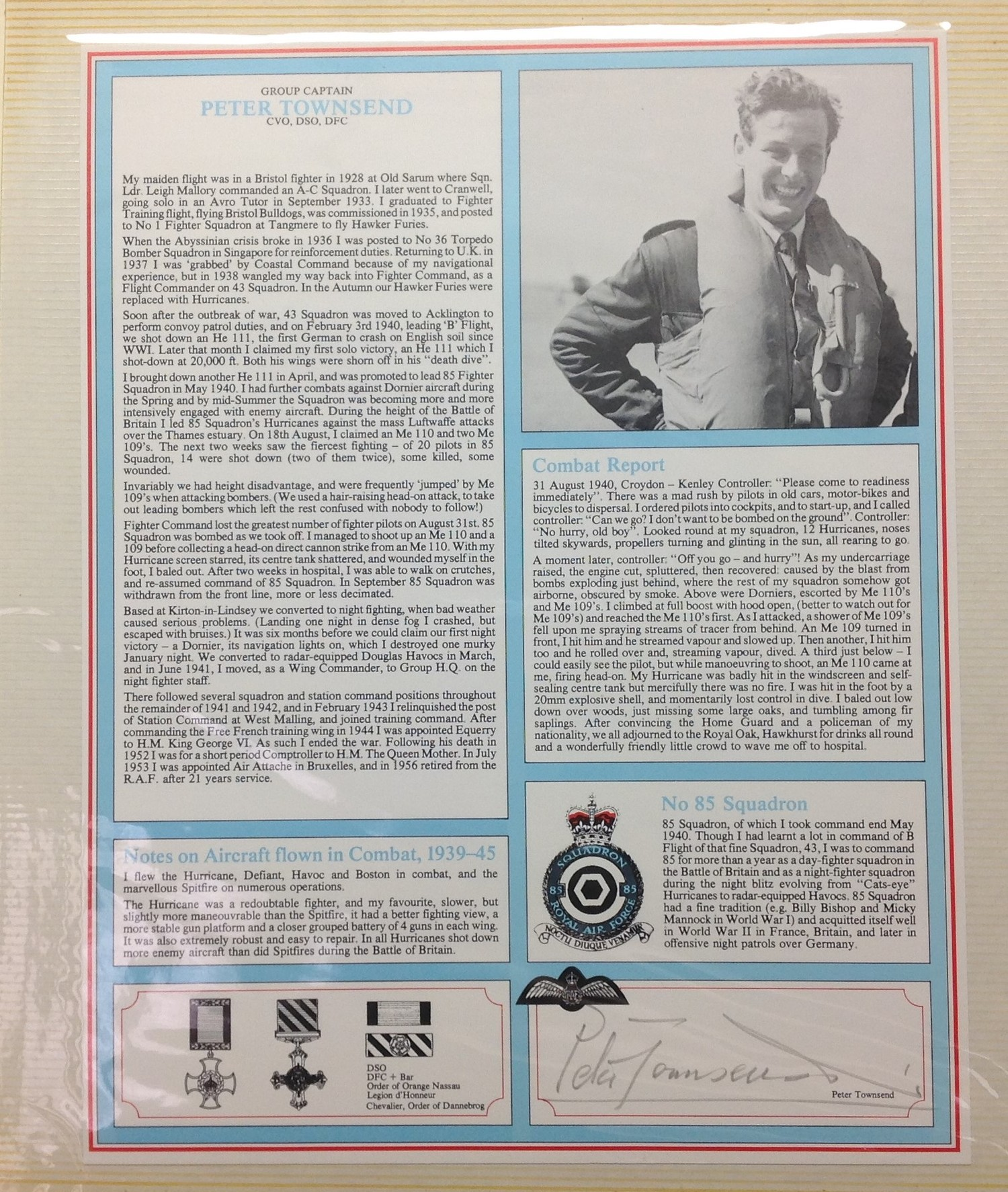 Royal Air Force Fighter Pilot and Bomber Pilot Profile Collection. A limited edition of only 2000 - Image 6 of 10