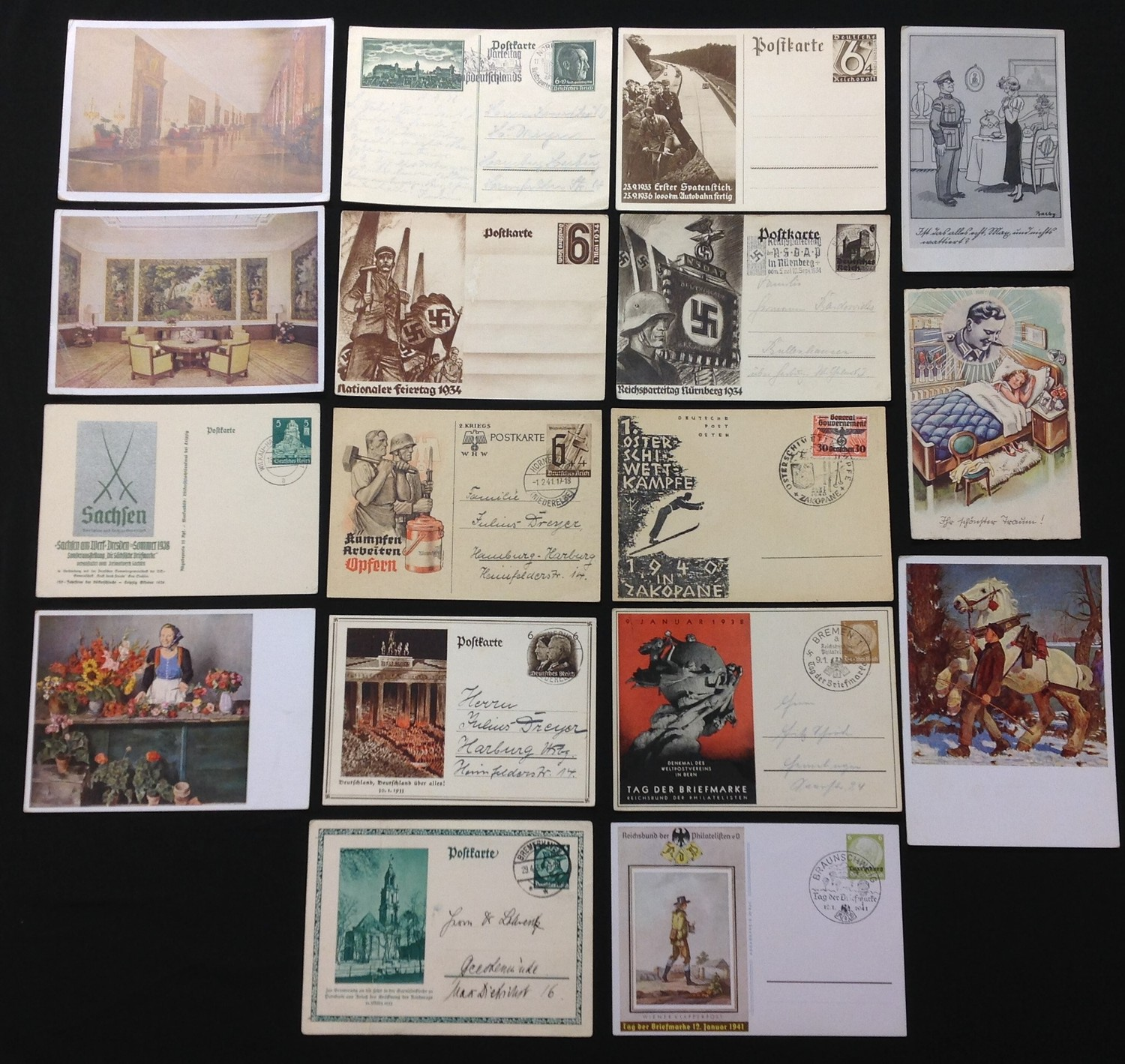 WW2 Third Reich Postcards, 17 in total, eleven of which have been filled in and posted. Political
