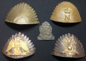 French Helmet plates. A collection of five different plates.