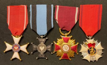 Order of Polonia Restituta 1944 complete with ribbon along with a Cross of Merit 1st class without