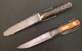 """Two Hunting knives: """"Bushman's Friend"""" knife with single edged blade 128mm in length maker marked """""""