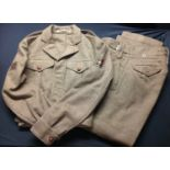 British 1949 Pattern Officers Battledress Blouse with Lt's rank insignia and machine woven 48th