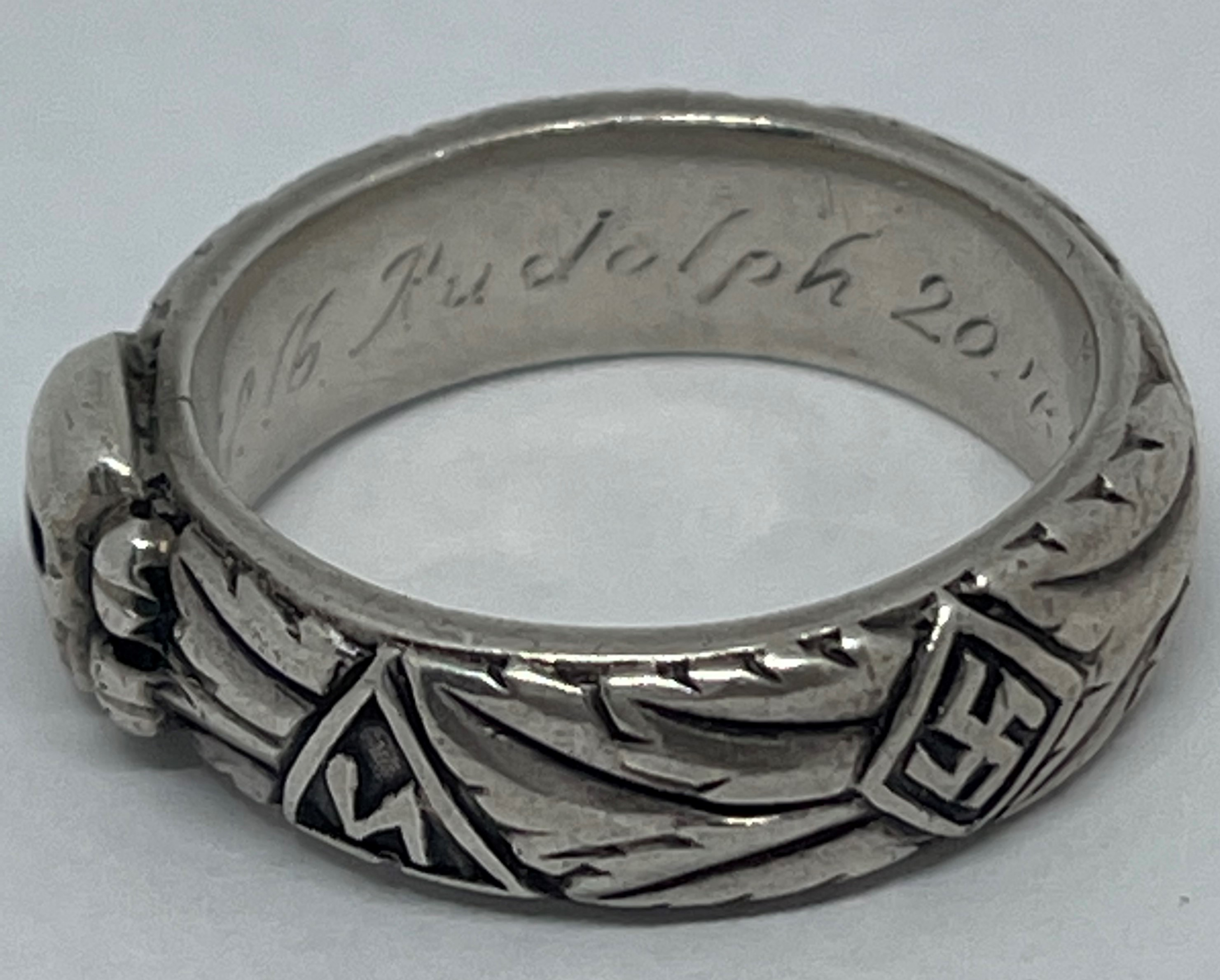 """WW2 Third Reich SS Ehrenring Totenkopf Honour Ring. Inscription engraved to the band """"Slb Rudolph - Image 3 of 5"""