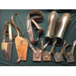 WW2 British / US / German leatherwork collection to comprise of: two leather shoulder holsters, both