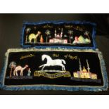 WW2 British Sweetheart Souvenir Embroideries: One large Northamptonshire Regt table decoration on