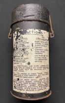 WW2 British Army Thermos Flask. Approx 25cm in height. The instruction decal to side in in good