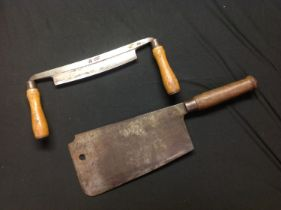 """WW2 British Army Butchers Meat Cleaver with 276mm long blade maker marked """"Elwell"""" and dated 1943"""