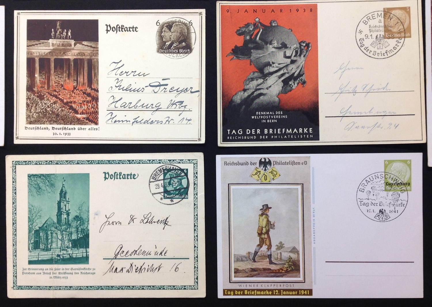 WW2 Third Reich Postcards, 17 in total, eleven of which have been filled in and posted. Political - Image 6 of 6