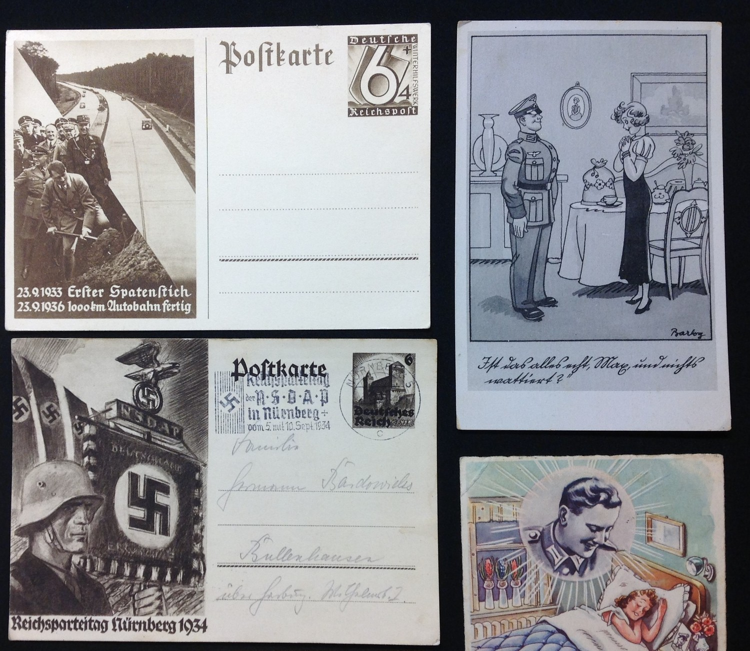 WW2 Third Reich Postcards, 17 in total, eleven of which have been filled in and posted. Political - Image 3 of 6